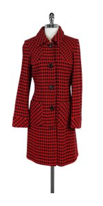 MILLY Red Black Poka Dot Wool Coat