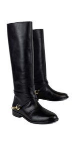 Ralph Lauren Black Leather Jenny Harness Boots