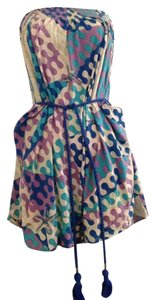 Emilio Pucci short dress Multi Blue/Purple Strapless Mini on Tradesy