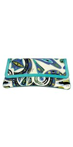 Emilio Pucci Blue Cream Print Clutch
