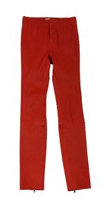 J Brand Red Orange Leather Skinny Skinny Jeans