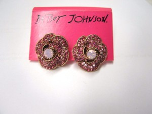 Betsey Johnson New Betsey Johnson Earrings Rose Pave Stud Posted