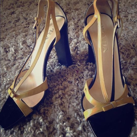 Prada Yellow & Black Wedges
