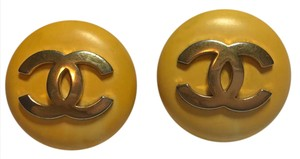 Chanel XL Chanel Yellow Clip on Earrings with Gold CC Logos