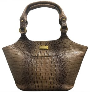 Brahmin Hermes Croc Leather Satchel in Gray
