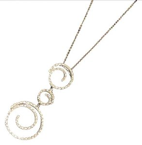 diamond and 14k white gold 3 ring spiral 14k white gold with diamonds necklace - Italian made