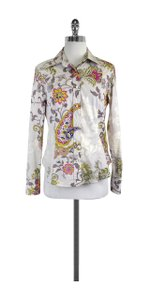 Etro Multi Color Paisley Print Cotton Shirt Button Down Shirt