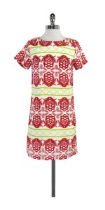 Sheridan French short dress Red Green & Cream Silk Short Sleeve on Tradesy