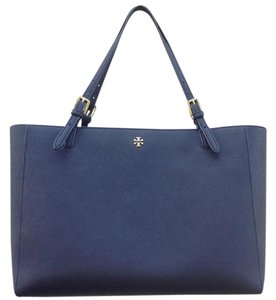 Tory Burch York Buckle Saffiano Leather Tote in Navy