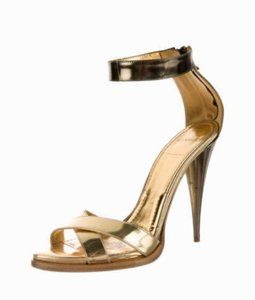 Givenchy Leather Heels Ankle Strap Gold Sandals