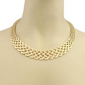 Modern Vintage Vintage Graduated Woven Design Wide Collar Necklace in 14k Yellow Gold