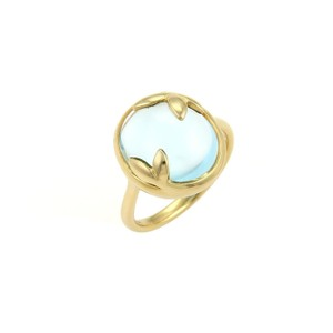 Tiffany & Co. 20152 - Picasso Blue Topaz Olive Leaf 18k Yellow Gold Dome Ring