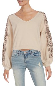 Free People Crop Boho Embroidered V-neck Sweater