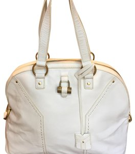 Saint Laurent Leather Muse Tote White Ysl Satchel in Ivory