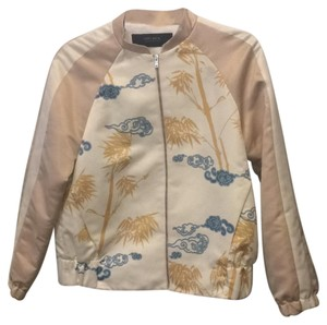 Zara baby pink white blue Gold Jacket