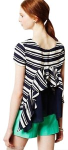 Anthropologie Striped Navy Ruffle Top