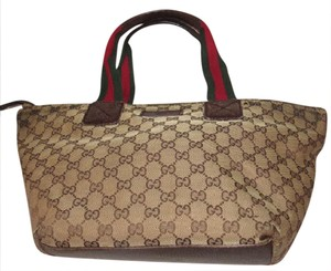 Gucci Extra Size Satchel Or Perfect For Travel Good Condition Great To Mix & Match Tote in shades of brown large G logo print canvas/leather & red/green striped straps