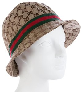 Gucci Beige, brown GG monogram canvas Gucci bucket hat M