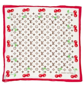 Louis Vuitton Multicolor, red, green Louis Vuitton LV monogram Cerises bandana