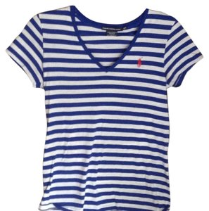 Ralph Lauren T Shirt blue n white stripe with red horse