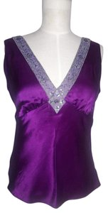 Kenneth Cole Sequin V-neck Top Plum