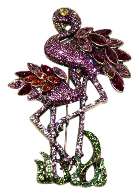 "Item - Light Rose Rose Fuchsia Padparadscha and Light Topaz ""Shore Thing"" Flamingo Party Swarovski Crystal Brooch Pin"