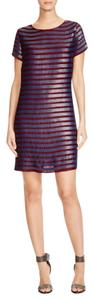 French Connection Blue Red Striped Sequin Shift Dress