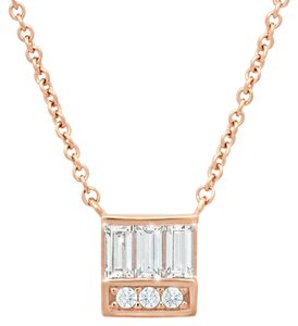 CRISLU CRISLU Channel Baguette & Diamond Simulant Stack Square Necklace 16-18