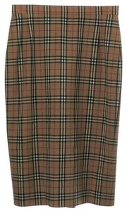 Burberry London Plaid Nova Check Monogram Logo Pencil Skirt Beige, Black, red