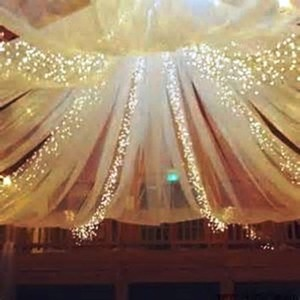 Elegant Ceiling Drape With Lights