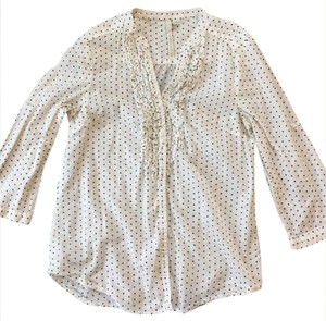 LC Lauren Conrad Button Down Shirt white with black polka dots