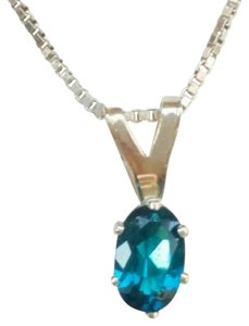 ELLE CROSS .43ct Oval Glowing Neon Apatite Solitaire Sterling Silver .925 Pendant
