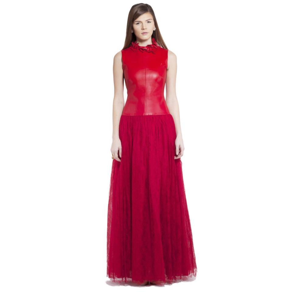 Valentino Red New W/ Tag 2014 Fall Leather Lace Embroidery Gown ...