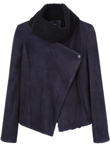 Isabel Marant Shearling Suede Lamb Leather Runway Navy Black Leather Jacket