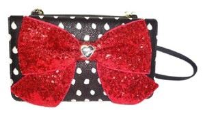 Betsey Johnson Black Triple Entry Red Sequin Bow Cross Body Bag