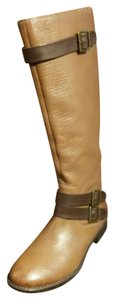 Montana Equestrian Biker Leather Knee High Buckles Camel Tan Boots