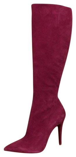 Christian Louboutin Pink Tournoi Suede Knee High Tall Stiletto Hot 37 Boots Booties