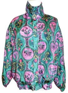 Kim Rogers Sport Petite Silk Floral Zippered Front Multi Color Jacket