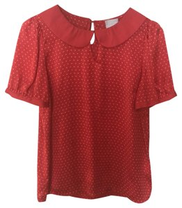 Anthropologie Top Red/orange with light orange polka dots