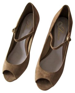 Delman Suede Open Toe Beige Straps tan Wedges