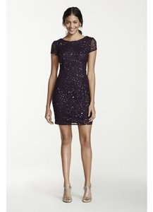 Adrianna Papell Amethyst Purple Adrianna Papell 041900220 Short Sleeve U-shaped Back Full Sequin Mesh Dress