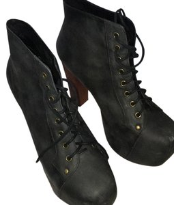 Jeffrey Campbell black distressed Boots