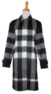 Burberry Plaid Check Alpaca Wool Winter Pea Coat
