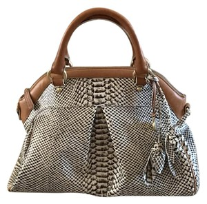 Brahmin Satchel in Tan and Black
