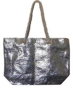 Saks Fifth Avenue Beach Rope Weave Tote in silver