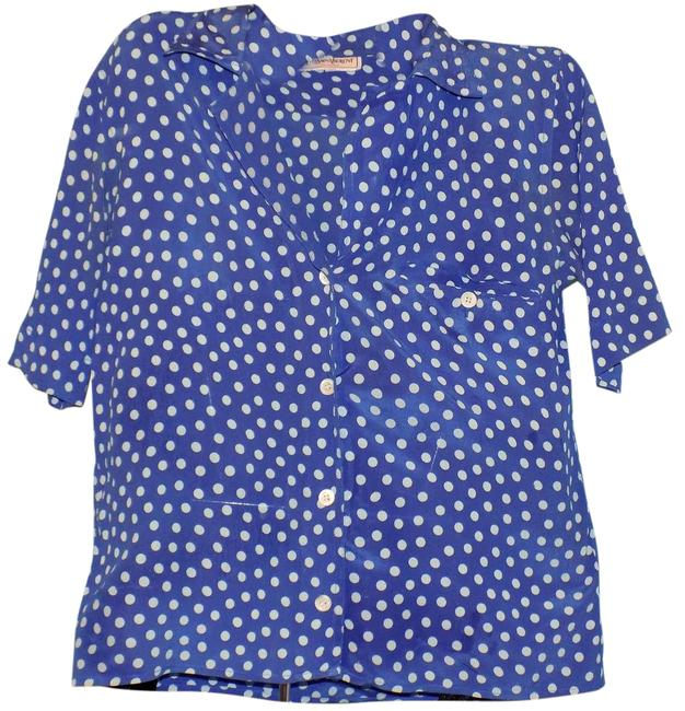 Item - Blue Short Sleeve Button Down Blouse Size 4 (S)