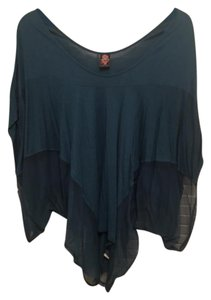 Free People Flowy Nylon Rayon Top Turquoise