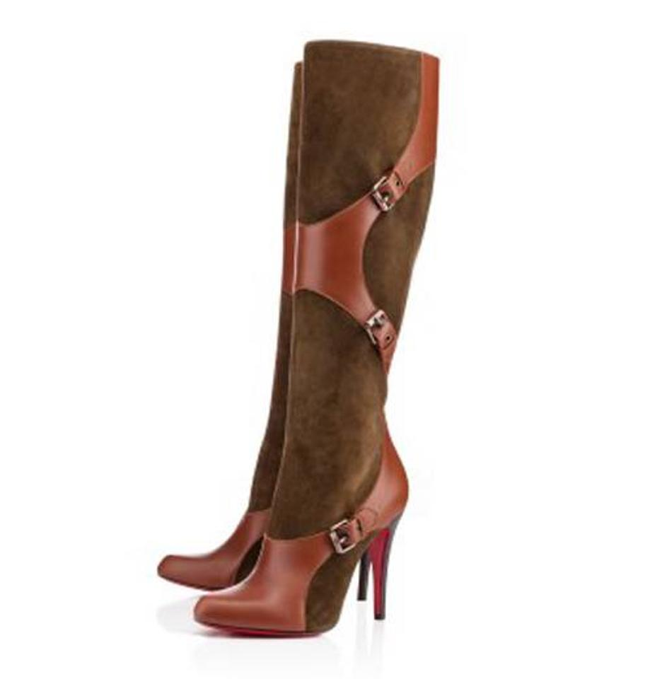 cc7bd22cf4c0 Christian Louboutin Olive Green Brown Canassone Botta 100 Suede Leather  Harness Tall Heels 36 Boots Booties. Size  US 6 ...