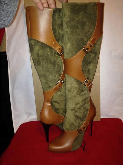 Christian Louboutin Suede Canassone Harness Olive Green/Brown Boots Image 1