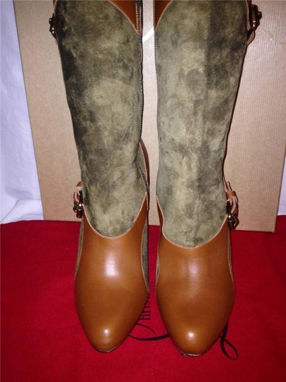 Christian Louboutin Suede Canassone Harness Olive Green/Brown Boots Image 10